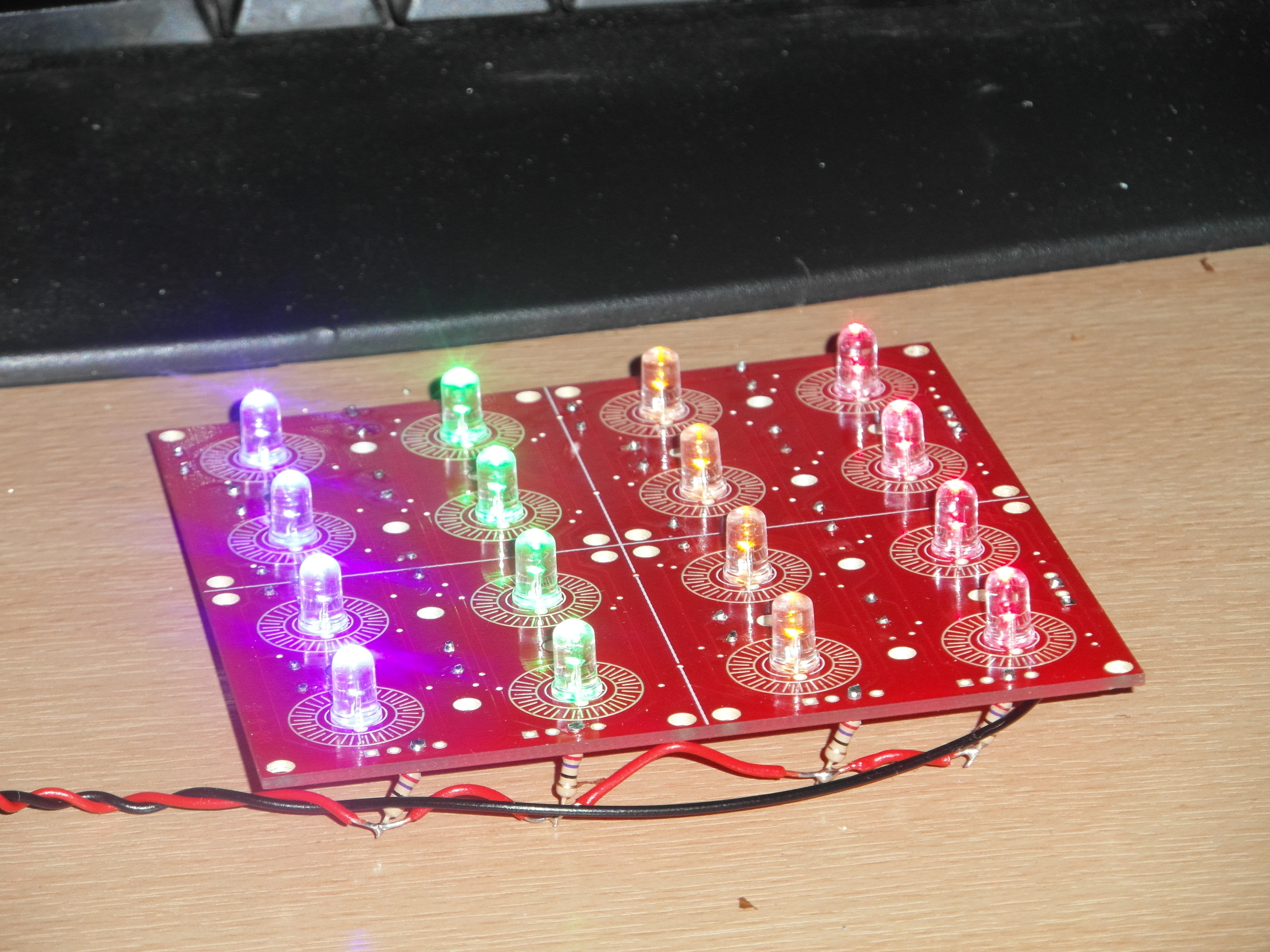 LEDs installed on button board